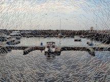Port through the broken glass Royalty Free Stock Photos