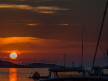 Port of Brusc and Embiez Islands at sunset Stock Images