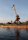Port bulk crane. And barge Royalty Free Stock Image