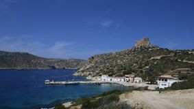 The port of Cabrera. The port building, cantina and antique castle are the few constructions in Cabrera, the minor of the balearic islands located south of the stock photo