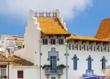 The port of Cadaques. The blue door in Cadaques, Spain royalty free stock photography