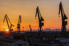 Port of Cadiz at sunrise Stock Images