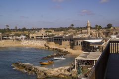 Port in Caesarea.Attractions  for all family.Israel Royalty Free Stock Photos