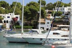Port Cala Llonga, Cruise Ship from Es Forti, Cala d´Or, Cala Gran, Cala Esmeralda, Cala Ferrera to Porto Colom, Majorca. Port Cala Llonga, Cruise Ship from Es Royalty Free Stock Photo