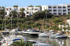 Port Cala Llonga, Cruise Ship from Es Forti, Cala d´Or, Cala Gran, Cala Esmeralda, Cala Ferrera to Porto Colom, Majorca. Port Cala Llonga, Cruise Ship from Royalty Free Stock Images