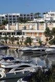 Port Cala Llonga, Cruise Ship from Es Forti, Cala d´Or, Cala Gran, Cala Esmeralda, Cala Ferrera to Porto Colom, Majorca. Port Cala Llonga, Cruise Ship from Es Royalty Free Stock Images