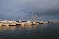 Port in Cambrils, Espania. Ships, marinas, yachts Marina Stock Photo