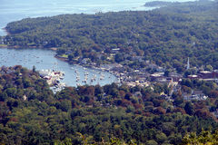 Port of Camden on the Scenic Coast of Maine. The scenic port of Camden on the coast of Maine viewed from above in Camden Hills State Park Royalty Free Stock Photo