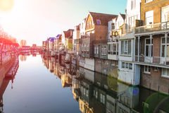 Port and canal embankment in the Dutch town of Gorinchem Stock Photography