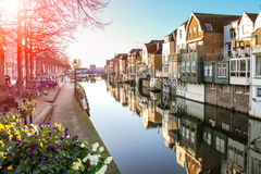 Port and canal embankment in the Dutch town of Gorinchem Stock Photos
