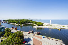 The port canal in Kolobrzeg Royalty Free Stock Images