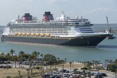 Cruise ship underway. Port Canaveral, Florida, USA. Port Canaveral, Florida, USA. circa 2017. Cruise ship Disney Fantasy departing Port Canaveral stock photos