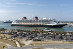 Cruise ship underway. Port Canaveral, Florida, USA. Port Canaveral, Florida, USA. circa 2017. Cruise ship Disney Fantasy departing Port Canaveral royalty free stock photography