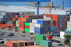 Cargo container in port. Port cargo container and pipe in port of Odessa, Ukraine Stock Photos