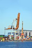Port cargo crane and container Stock Photo