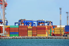 Port cargo crane and container Stock Photography