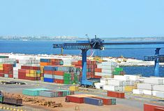 Port cargo crane and container Stock Image