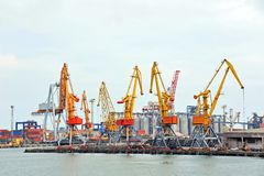 Port cargo crane and container Stock Photos