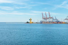 Port cargo crane and container Royalty Free Stock Photos