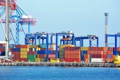 Port cargo crane and container Stock Photo