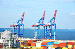 Port cargo crane and container Royalty Free Stock Photography