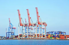 Port cargo crane and container Royalty Free Stock Image