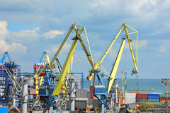 Port cargo crane and container Royalty Free Stock Photo