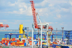Port cargo crane and container Royalty Free Stock Images