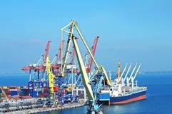 Port cargo crane, ship and container stock photos