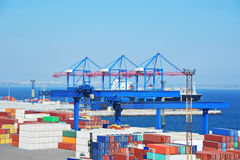 Port cargo crane, ship and container Royalty Free Stock Image