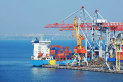 Port cargo crane, ship and container Royalty Free Stock Photography