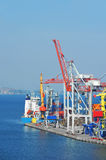 Port cargo crane, ship and container Royalty Free Stock Images