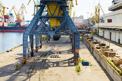 Port cargo crane stands on the rails Royalty Free Stock Photography