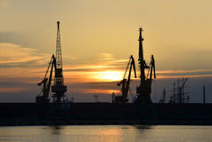 Port cargo crane at sunset Royalty Free Stock Photography