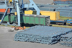 Port cargo crane, train and metal Stock Photo