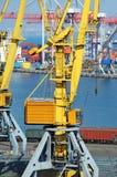 Port cargo crane, train and metal Royalty Free Stock Image