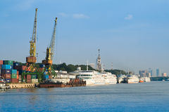 Port with cargo cranes Stock Photography