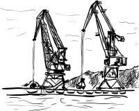 Port. A port cargo cranes ilustration Stock Photography