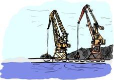 Port. A port cargo cranes ilustration Royalty Free Stock Photos