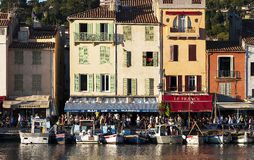 Port of Cassis in France. With small boats in the foreground ,buildings in the background Royalty Free Stock Photography