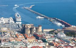 Port, Castel Nuovo and Galleria Umberto I in Naples, Italy. Picturesque summer view of Naples city, Italy. Sea Port, Castel Nuovo New Castle and Galleria Umberto stock photo