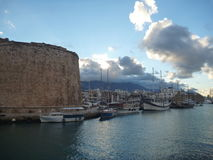 Port and castle in Kyrenia stock image