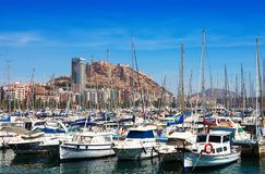 Port  and Castle of Santa Barbara in background. Alicante Royalty Free Stock Images