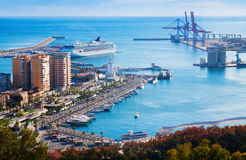 Port  from castle in sunny time.  Malaga Stock Image