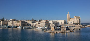 The port and cathedral in the center of Trani Stock Images