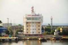 Port Caucasus. The building of the ferry port of Kerch-Caucasus Stock Images