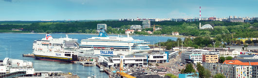 Port in the center of Tallinn with ferries Royalty Free Stock Image