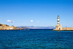 Port Chania with the lighthouse Stock Images