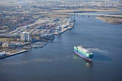 Port of charleston and ship Royalty Free Stock Image