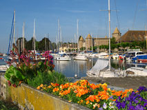 Port and Chateau du Morges 01, Switzerland. In the vicinity of Lausanne, on Lake Geneva, the town of Morges is another lovely stop along the Swiss Riviera. An Stock Photo